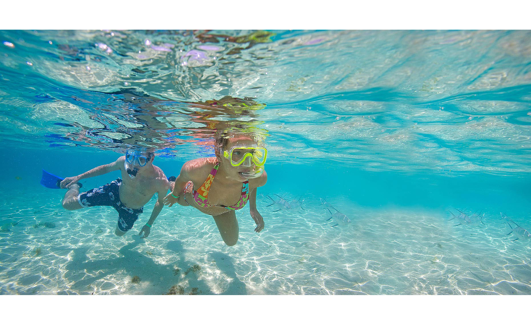 underwater view of couple snorkeling Mexico_Allegro__resort lifestyle photography_Robert-Holland